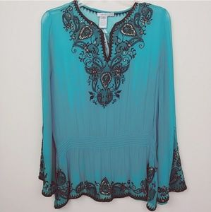Caché | Embroidered V-neck paisley sheer blouse